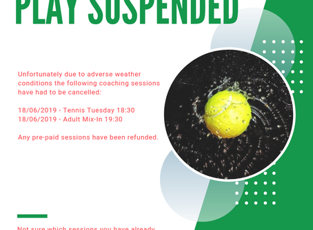 Tennis coaching sessions cancelled - 18/06/2019