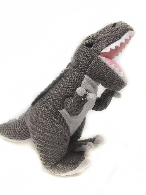 Grey Knitted T-Rex