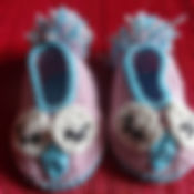 Crochet owl baby shoes in light blue and pink with pompom tail from killy's wand