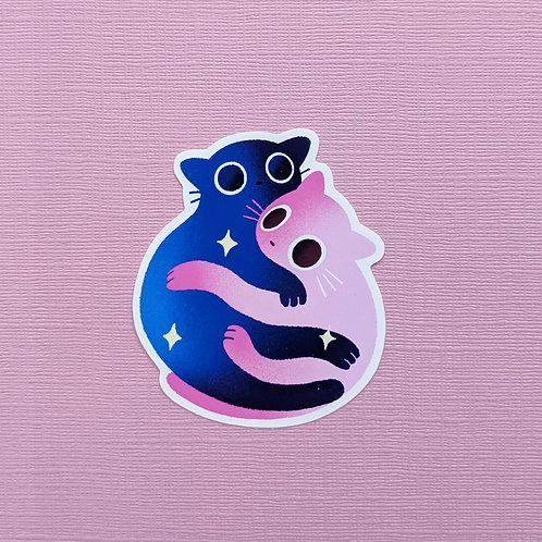 Snuggling Cats - Sticker