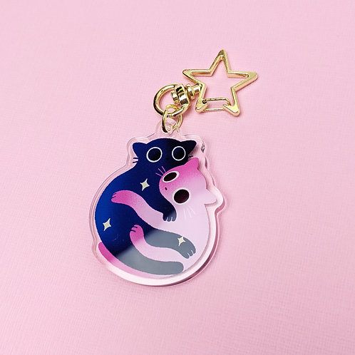 Snuggling Cats - Acrylic Keychain