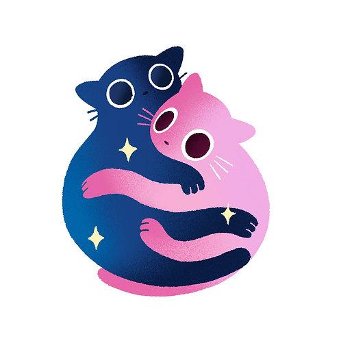 Snuggling Cats - Print