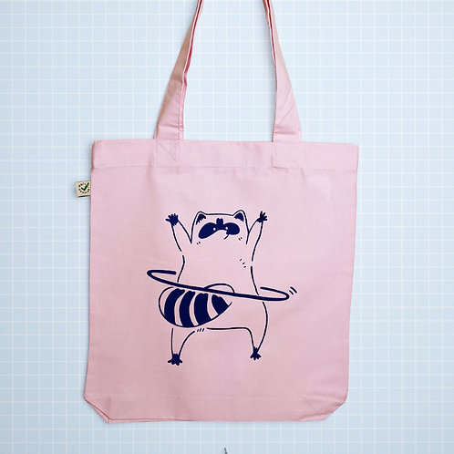Raccoon - Organic Pink Tote Bag