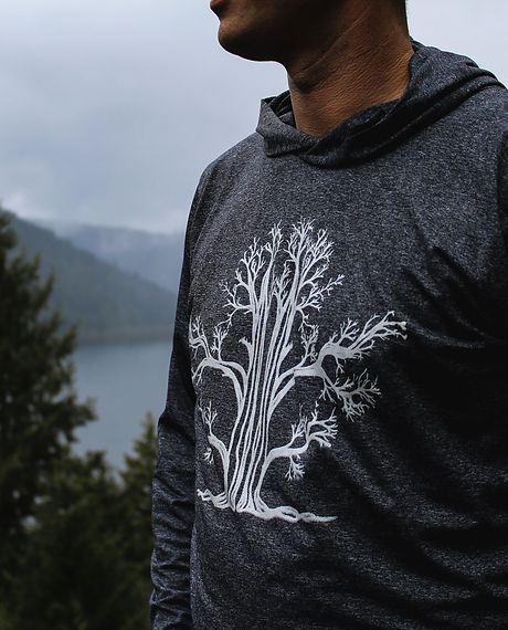 mens athletic hoodie tree print