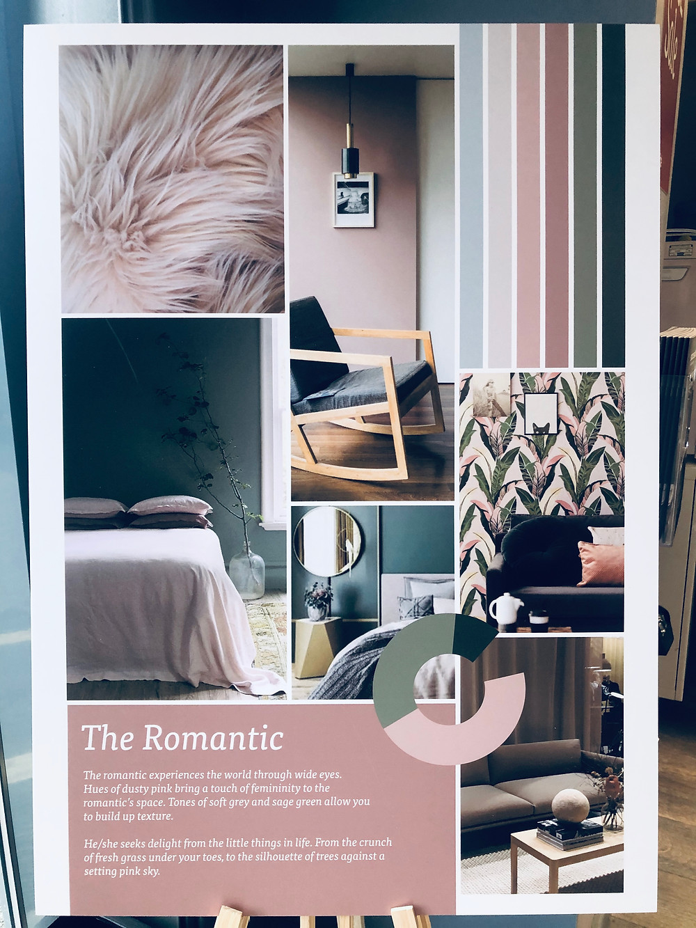 image shows examples of pinks and greens within a room
