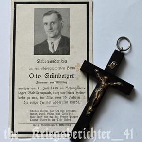 Deathcard of Otto Grünberger - 01/07/45 †