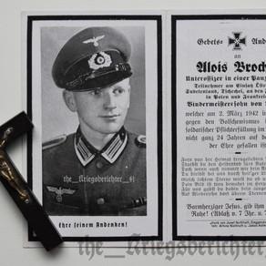Deathcard of Alois Brocher - 02/03/42 †