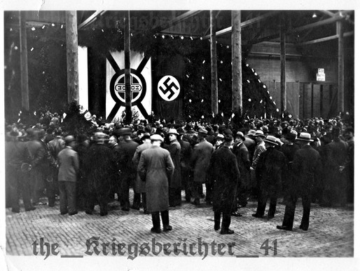 Hitlers Speech in a Factory in Hamburg, Germany, 1st May 1933