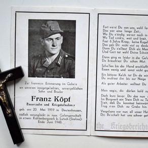 Deathcard of Franz Köpf - End June 1948 †