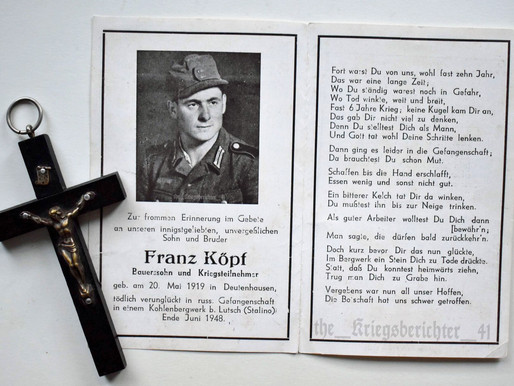 Deathcard of Franz Köpf - End June 1948 †