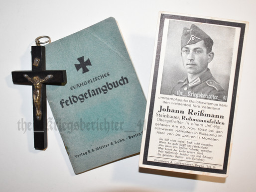 Deathcard of Johann Reißmann  - 25/11/1942 †