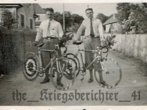 Two Civilians with Decorated Bicycles