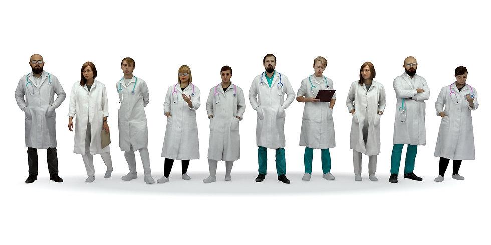 3Dscan 3Dpeople 3Dmodel realistic doctor hospital medicine woman man archviz human man character vray 3d studio max fbx obj