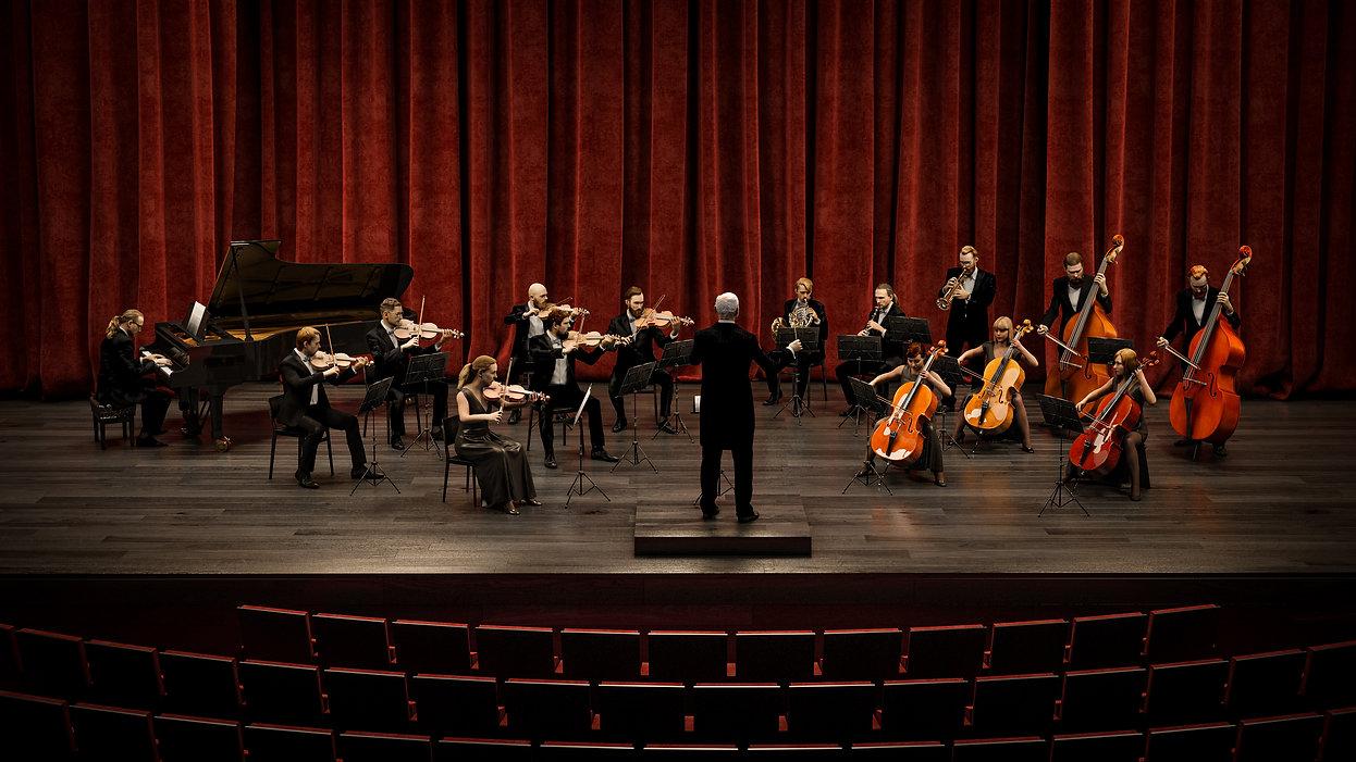 Chamber orchestra 3d musician 3d scan
