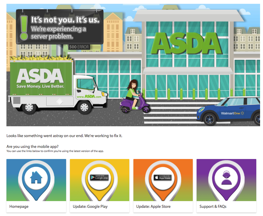 ASDA 500 Error Page Design