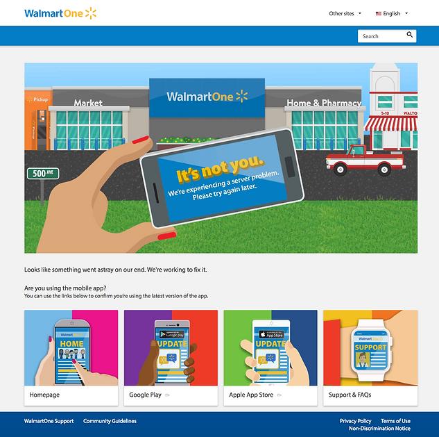 WalmartOne.com 500 Error Page
