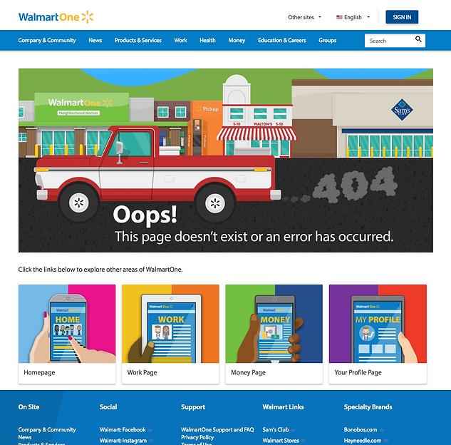 WalmartOne.com 404 Error Page