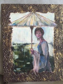 "Girl and Umbrella 14"" x 11"""