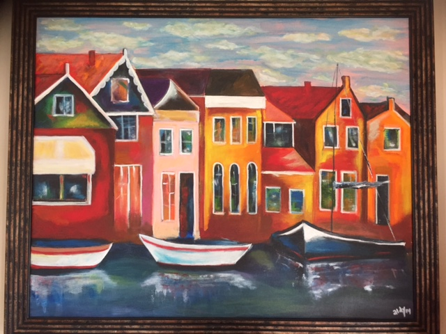 "Colorfull Houses with Boats 30""x24"""