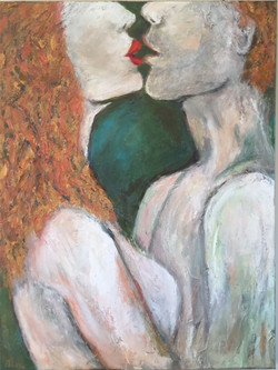 "Lover's Kiss  20""x18"" (Sold)"