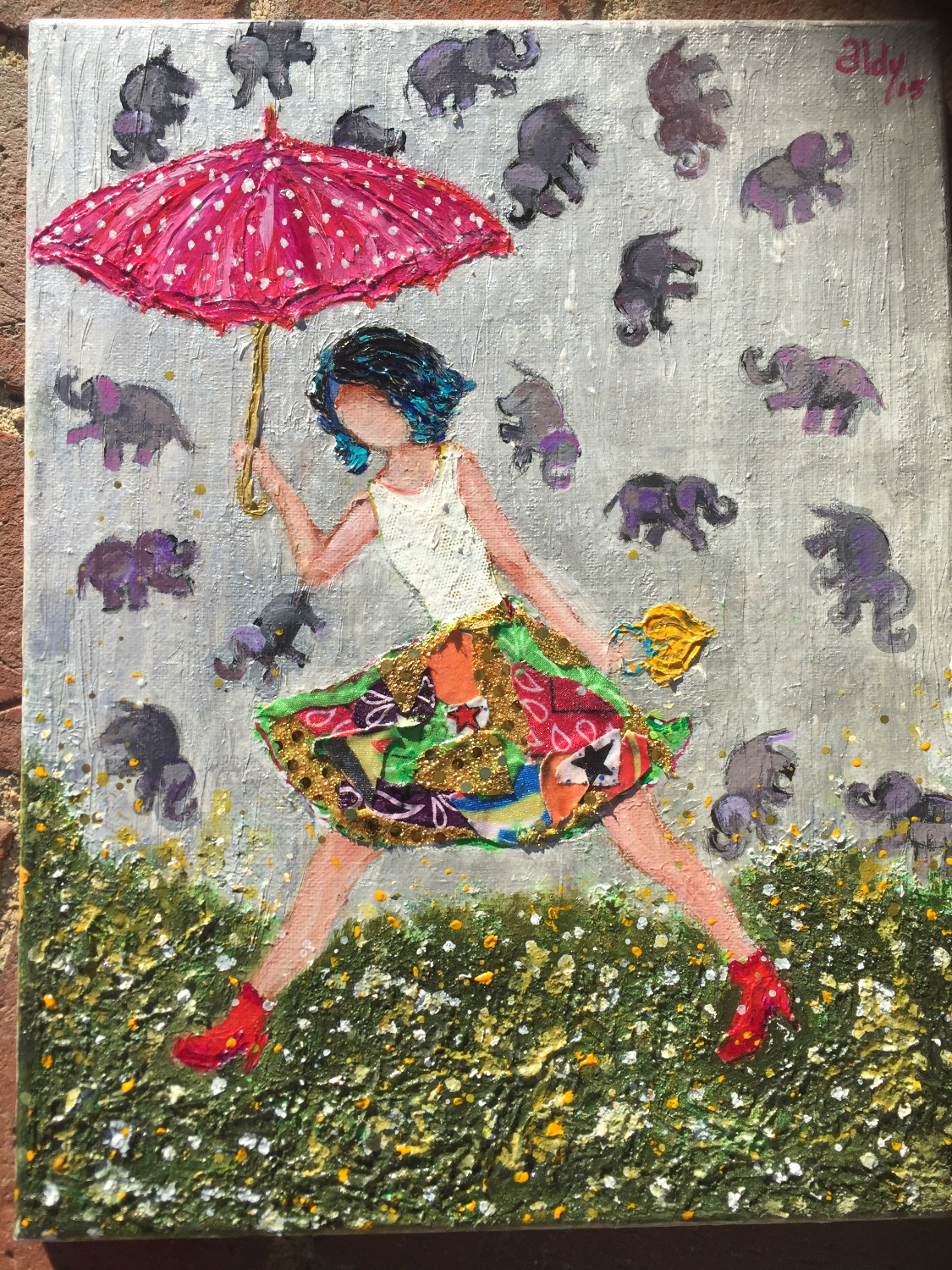 "Its Raining Elephants 11""x14"" (Sold)"