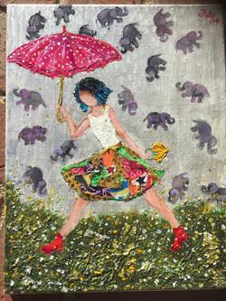 "Its Raining Elephants 11""x14"" (Sold)"