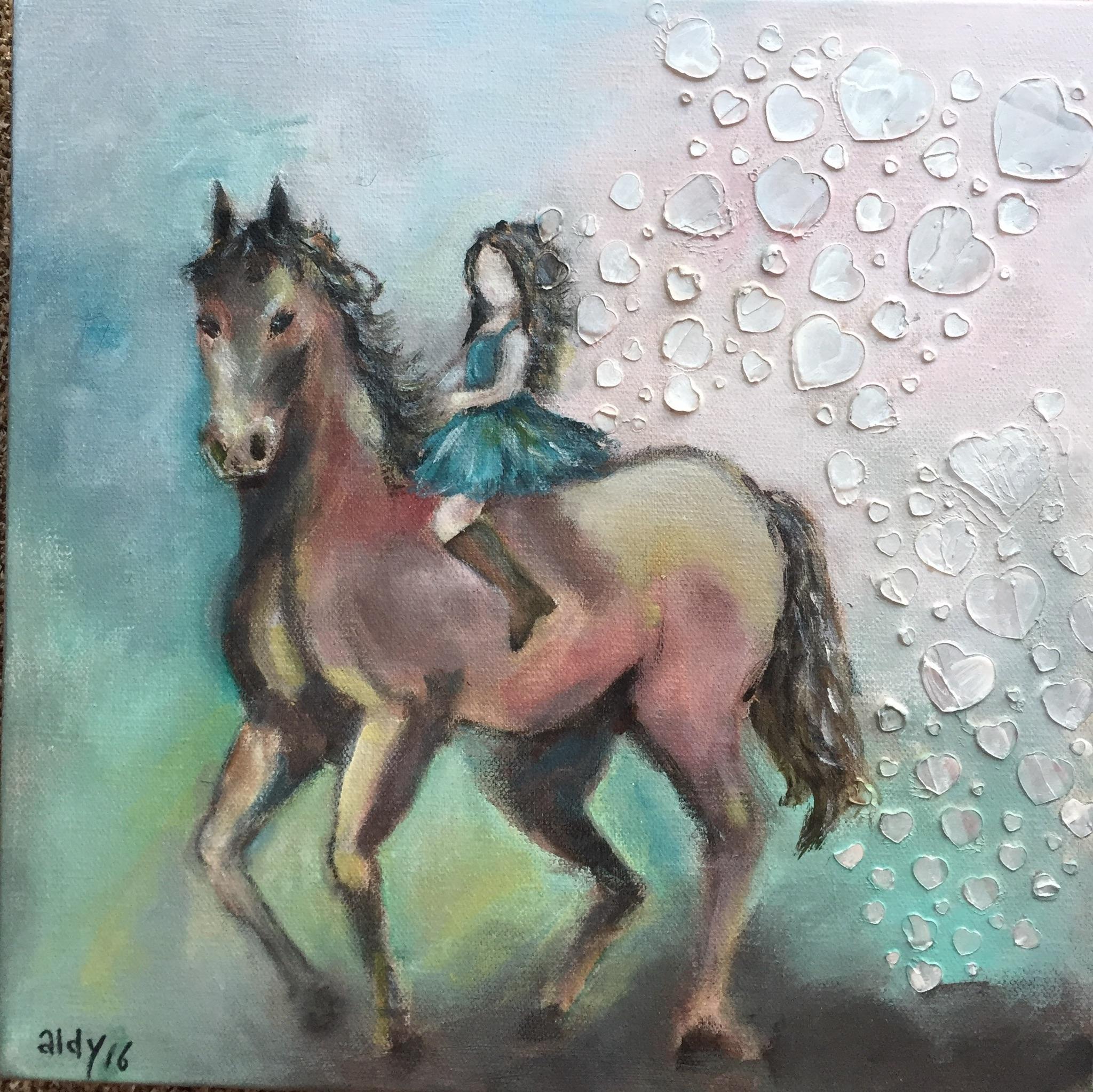"Riding my horse 12"" x 12"""