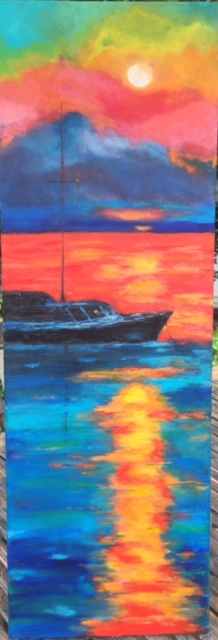 "Black Boat in Sunset 36""x12"" (Sold)"