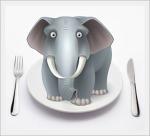 Elephant on a dinner plate between a fork and a knife.