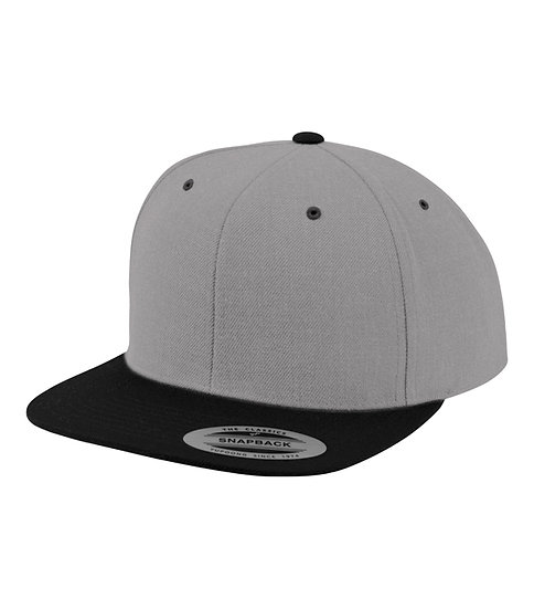 Heather/Black Yupoong Classic Snapback keps