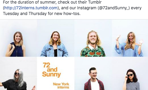 72 and Tumblr: NYC Intern Edition