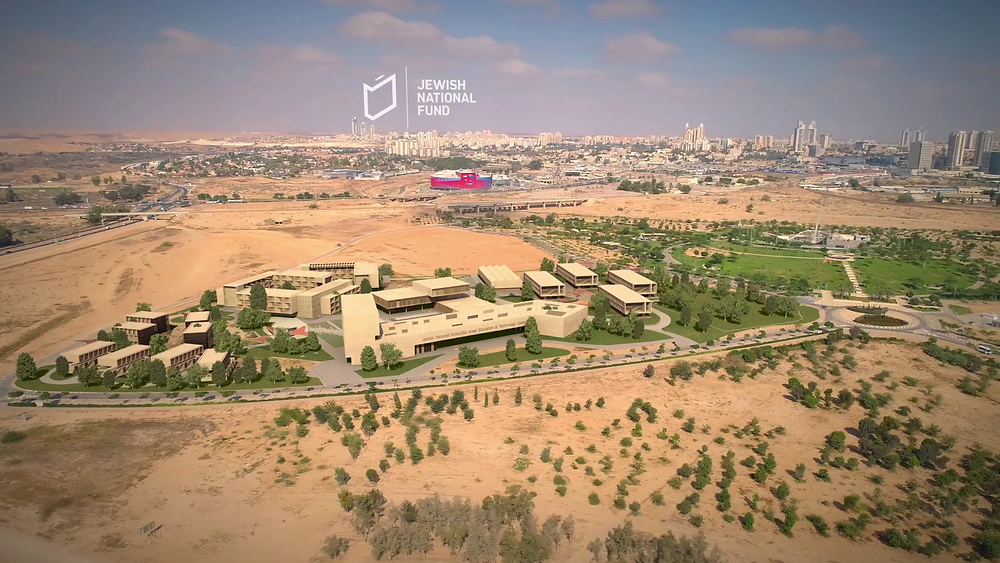 A digital rendering of JNF educational campus in the desert