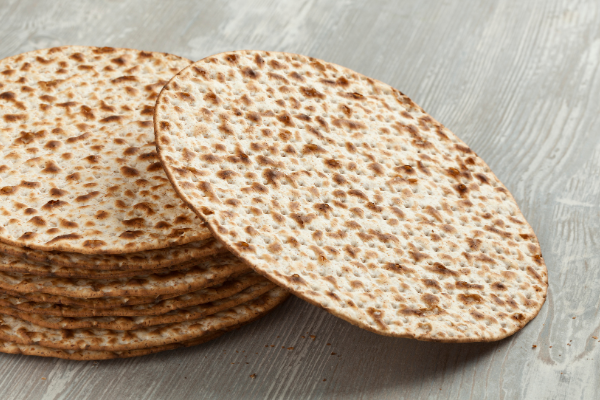 A stack of matza on a Passover table