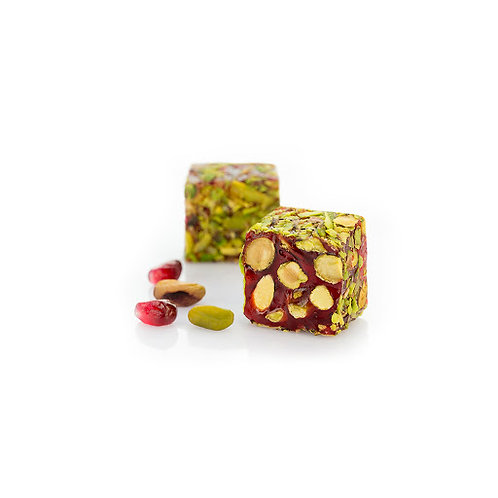 Pomegranate & Pistachios Turkish Delight coated with Sliced or Ground Pistachios