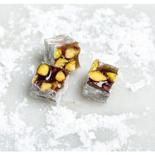 Vanilla & Pistachio Turkish Delight coated with Sugar Powder