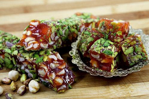 Orange & Hazelnuts Turkish Delight coated with sliced Pistachios