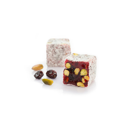 Blueberries, Pomegranate & Pistachios Turkisg Delight coated with Coconut Flakes