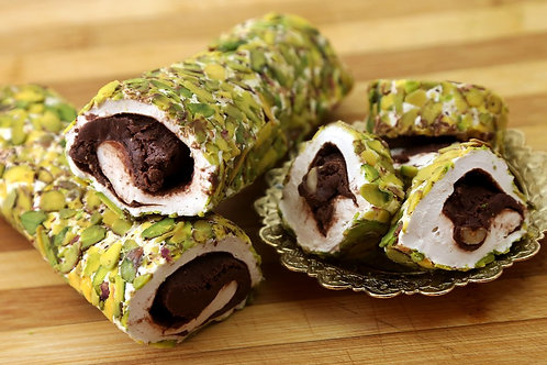 Chocolate & Marshmallow Turkish Delight with Hazelnuts, coated with sliced Pista