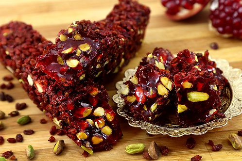 Cherry flavored Turkish Delight coated with Dried Cherries