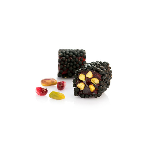 Pomegranate&Pistachio Turkish Delight coated with Chocolate Rice puffs
