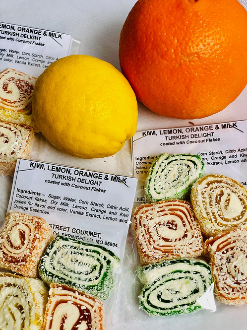 Kiwi, Lemon, Orange & Milk Turkish Delight coated with Coconut Flakes