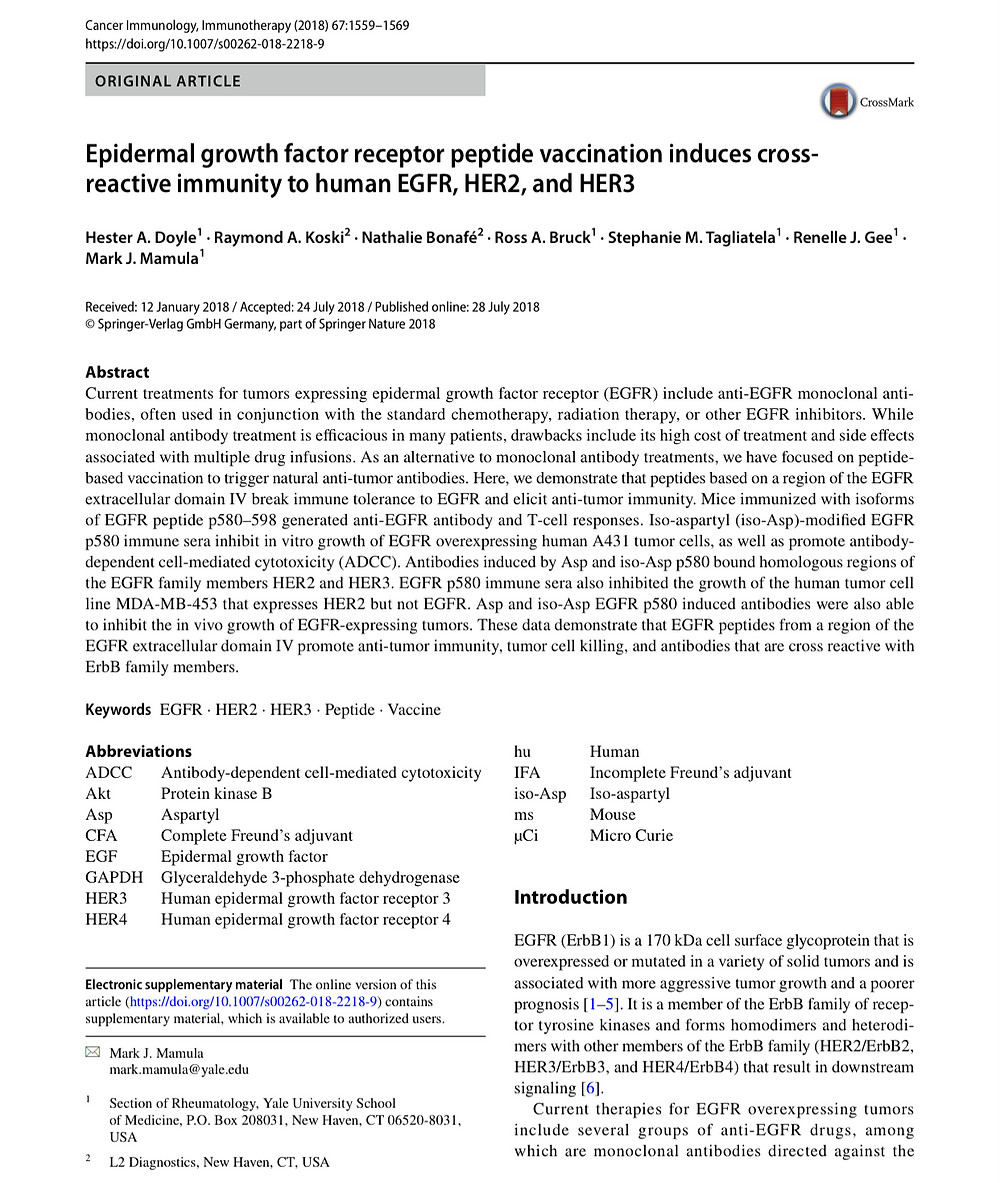 First page of publication on EGFR peptide vaccination in Cancer Immunology journal