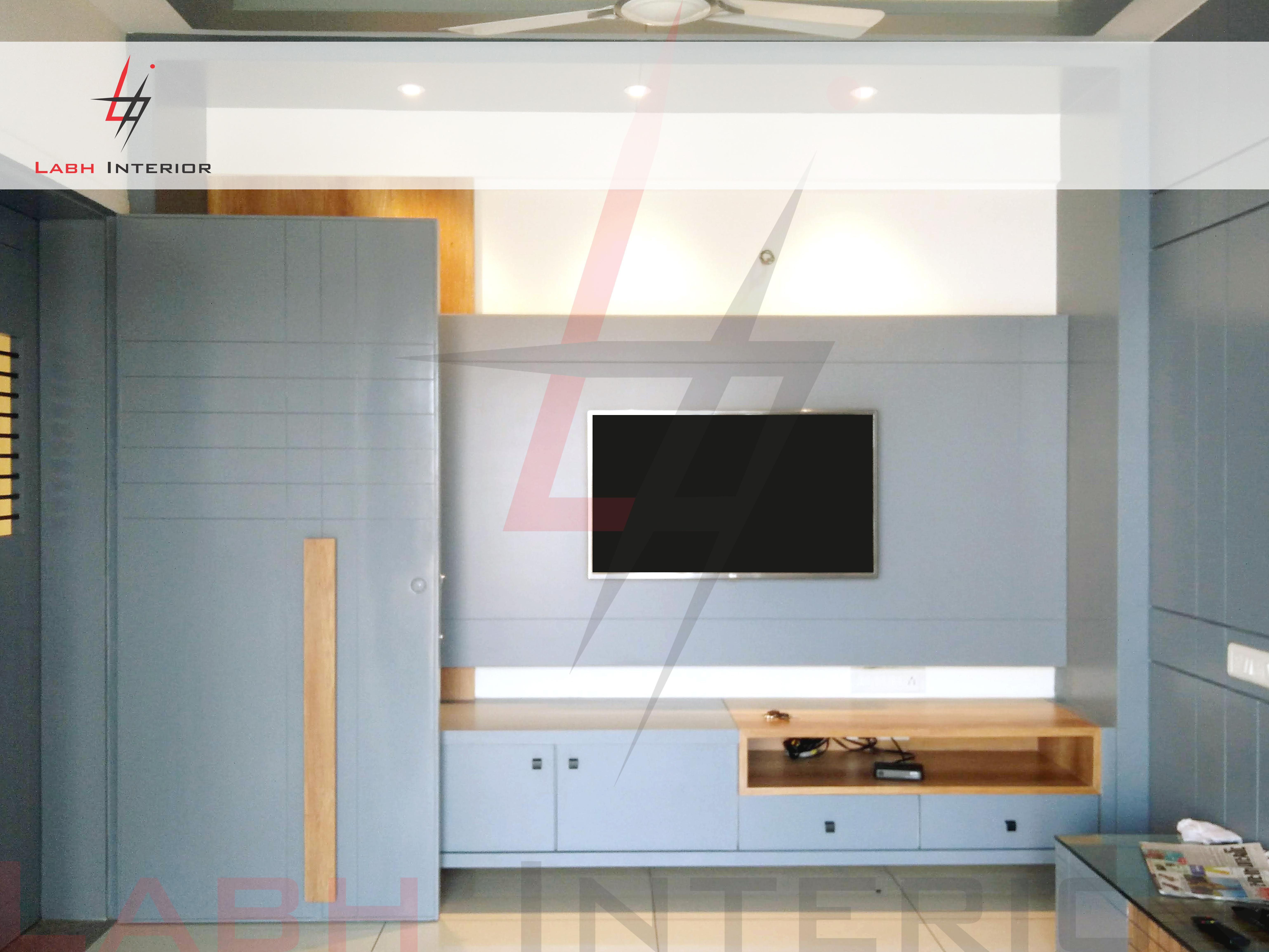 Tv and Main Door interior design