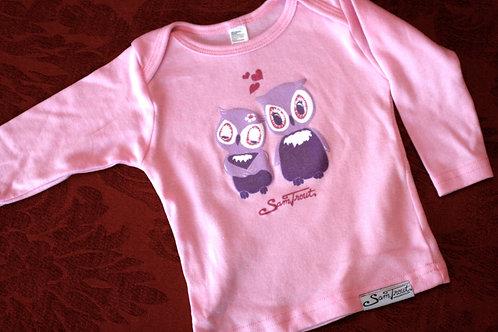 Pink Owls Baby shirt