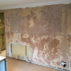 Prepped old wall prior to plastering