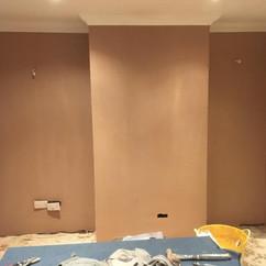 After plastering ( stil wet)