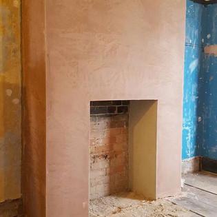 Plastered chimney breast