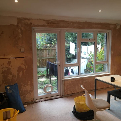 Prepped old window wall prior to plastering