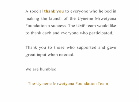 A special thank you from the UMF team.