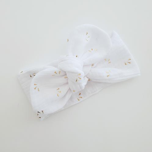 Bandeau à nouer double gaze blanc motifs éventails or - Les Noeuds de Maman